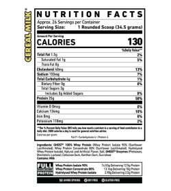 Nutrition fact and ingredients panel of Ghost Whey Protein 949g Cereal Milk flavour Serving Size: 1 Rounded Scoop (34.5 grams)