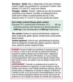 Jamieson Echinacea 4000mg Ultra Strength 60softgels facts panel