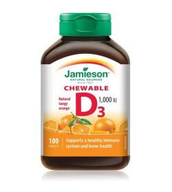 One white and orange bottle with green cap of Jamieson Vitamin D3 Chewable 1000IU 100tablets tangy orange flavour