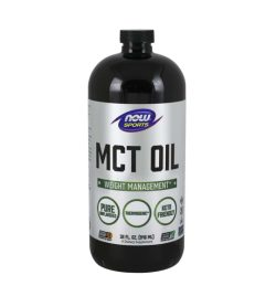 One black and silver bottle of NOW–MCT Oil 946mL WEIGHT MANAGEMENT