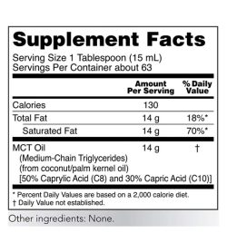 Supplement facts panel of NOW–MCT Oil 946mL supplements Serving Size 1 Tablespoon (15 mL)