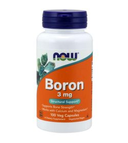 One orange and white bottle of NOW Boron 3mg 100 Vegetarian Capsules Structural Support