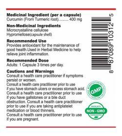 Nutridom Curcumin Turmeric Extract 400mg 60caps medical ingredients panel