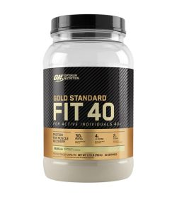 One black and gold bottle of ON Gold Standard Fit 40 Whey Protein FOR ACTIVE INDIVIDUALS 40+