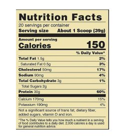 Nutrition fact panel of ON Gold Standard Fit 40 Whey Protein Serving size About 1 Scoop (39g) 20 servings per container