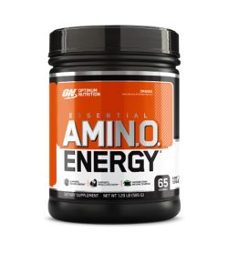 One white and orange container of Optimum Nutrition Amino Energy 65Servings Orange flavour