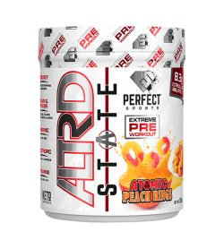 One white and orange container of Perfect Sports ALTRD STATE 20Servings atomic peach rings pre workout supplements