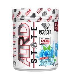 One white and blue container of Perfect Sports ALTRD STATE 20Servings blue raspberry pre workout supplements