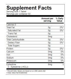 Supplement facts panel of Synergenex Ephedrine HCL 8mg 50 Tablets Serving Size 1 Tablet Servings per container 50
