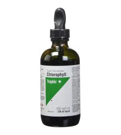One white and black bottle of Trophic–Chlorophyll 100mg Liquid