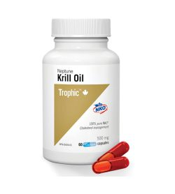 One white and olive green bottle of Trophic Neptune Krill Oil 500mg 60Capsules 2 red capsules shown near