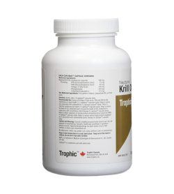 One white and olive green container of Trophic Neptune Krill Oil 500mg 60 Capsules facts side