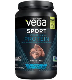 One black and blue container of Vega Sport Protein chocolate flavour