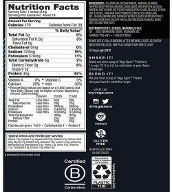 Nutrition fact and ingredients panel of Vega Sport Protein chocolate flavour Serving Size: 1 scoop (44g)