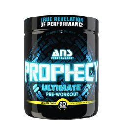 One black and blue container of ANS Prophecy Pre Workout Lemon Drop 20 servings TRUE REVELATION OF PERFORMANCE