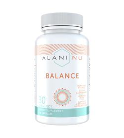 One white and cyan bottle of AlaniNu–Balance 120 Capsules 30 SERVINGS HORMONAL BALANCE WEIGHT MANAGEMENT