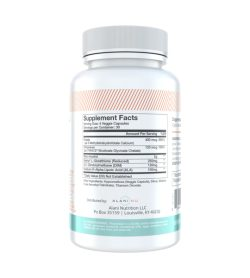 One white and cyan bottle of AlaniNu–Balance 120 Capsules showing supplements facts side