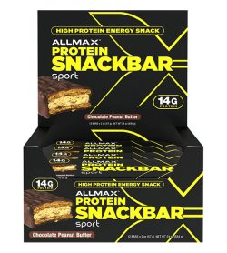 One black and yellow box of Allmax Protein SnackBar Sport 57g Chocolate Peanut butter flavour