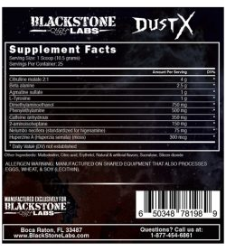 Nutrition fact and ingredients panel of Black Stone Labs Dust X for serving size 1 scoop (10.5 g)