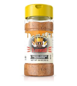 One brown bottle with yellow cap of Flavor God Nacho Cheese Seasoning net wt. 3.6 oz (105 g)