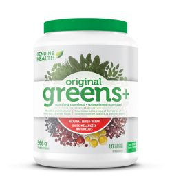 One white and green container of Genuine Health Greens 60 Servings 566 g powder Natural Mixed Berry flavour