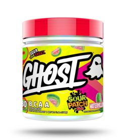 One yellow and red container of Ghost BCAA 30 Servings Sour Patch Kids Watermelon flavour