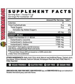 Supplement facts panel of Ghost BCAA 30 Servings Sour Patch Kids Watermelon supplements for serving size 1 scoop (11 g)