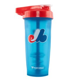 One blue bottle with red cap of Performa ACTIV SHAKER CUP 28oz Expos