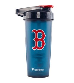 One blue bottle with black cap of Performa ACTIV SHAKER CUP 28oz Boston Red Sox