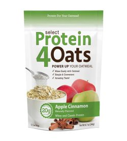 One white and green pouch of Protein4Oats Apple Cinnamon naturally flavored 12 Servings 20 g protein