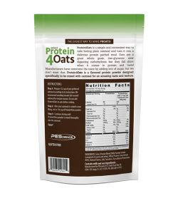 One pouch showing back side of Protein4Oats Apple Cinnamon 12 Servings nutrition facts