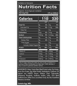 Nutrition fact and ingredients panel of Redcon1 MRE Real Whole Food 40g Protein Shake 500ml Serving Size 8 fl oz (240ml)