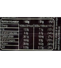 Snickers Original Protein Chocolate Bar 51g supplements facts panel