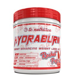 One white and red container of TC Nutrition HydraBurn 30 Servings Rocket Pop flavor Energy Enhancing Weight Loss Aid