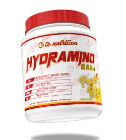 One white and red container of TC Nutrition Hydramino EAAs 100 Servings Peach rings flavour