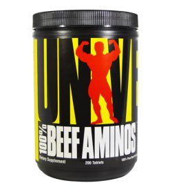 One black and yellow container Universal 100% Beef Aminos 200 Tablets Dietary Supplement