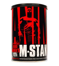 One black and red container of Universal Animal M Stak 21 packs The Non-Hormonal Anabolic Stack