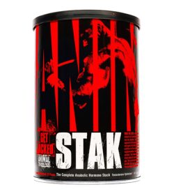 One black and red container of Universal Animal Stak 21 pack shown in white background