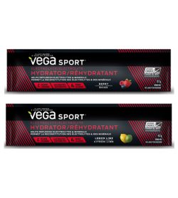 2 black and red pouches of Vega Sport Electrolyte Hydrator Stick with Lemon Lime and Berry flavors each