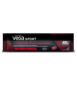 One black and red pouch of Vega Sport Electrolyte Hydrator Stick with Berry flavour