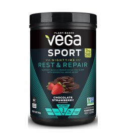 One black and cyan container of Vega Sport Nighttime Protein Rest Repair 401g Chocolate Strawberry flavor