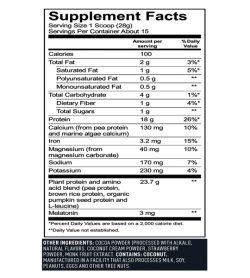 Supplement facts panel of Vega Sport Nighttime Protein Rest Repair 401g Chocolate Serving Size 1 Scoop (28g)