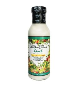 One white and green bottle of Walden Farms Ranch Dressing Calorie Free, Sugar Free, Fat Free 355 ml