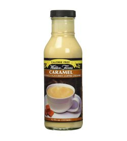 One white and brown bottle of Walden Farms Caramel Naturally Flavored Coffee Creamer 355mL