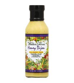 One white and purple bottle of Walden Farms Honey Dijon Dressing Calorie free, Sugar free, fat free 355ml