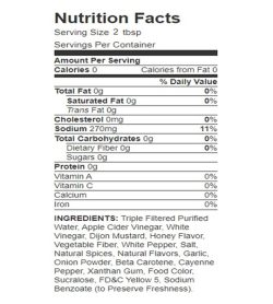 Nutrition fact and ingredients panel of Walden Farms Honey Dijon 355ml for serving size 2 tbsp