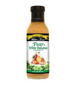 One orange and green bottle of Walden Farms Pear & White Balsamic Vinaigrette 355 ml