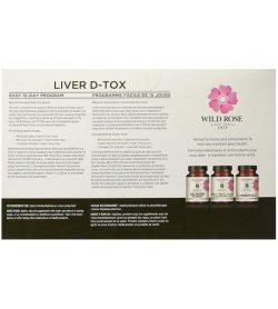Pamphlet showing 3 white and pink bottles of Wild Rose Liver D-tox with info