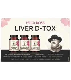 3 white and pink bottles of WildRose Liver D-tox shown on a banner 15 day program