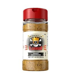 One brown bottle with red cap of Flavor God ghost seasoning net wt. 5.5 oz (156 g)